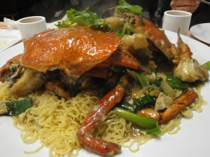 Crab with egg noodles