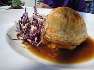 Duck and mushroom pie with carrot mash